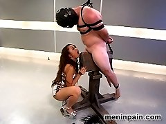 Mistress Annie Cruz initiates newcomer CJ7 to Men In Pain with typically tight bondage that...