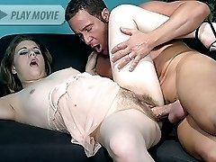 Lustful hirsute Nikki Knox hooks up with her fuckbuddy and got her hairy pussy crammed with his...