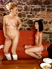 Slim MILF has too much to drink and seduces hot girlfriend of her own son