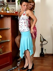 Cute girl in barely visible stockings has first lesbian sex in the bathroom