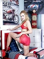Under her full frock Skye has on some very racy underwear. Hot ff nylons and patent red...