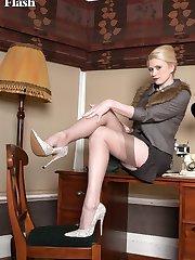 Tegan having some sexy fun stripping down to open bottom girdle and vintage nylons!