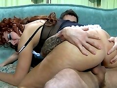 Kinky mature maid invites a sex-crazed guy to taste and drill her wet pussy