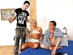 Young sultry blonde was tricked into hot taboo sex by her boyfriends old father
