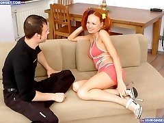 Redheaded teen slut enjoying dirty sexual tricks