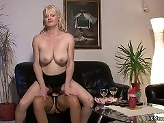 Guys sultry mother and his no less hot girlfriend caught having strapon sex