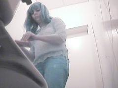 Dirty voyeur videos from ladies room in the warehouse