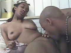 Busty ebony slut lustfully getting her unshaved pussy licked
