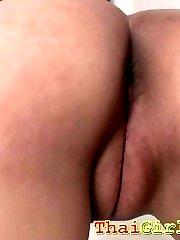 Super cute thai gf sucks cock and gets a cum filled pussy