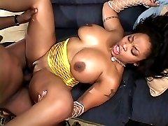 Busty ebony licking cum off huge black cock