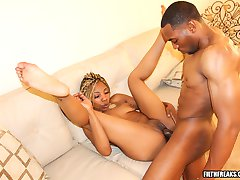 Eboni Ice gets her thick black butt smacked around good in this