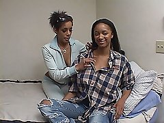 Big tit long haired mocha teen rides her shaved box on a black cock