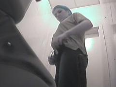 Voyeur videos from ladies room in warehouse toilet