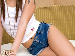 asian teen in short jean shorts