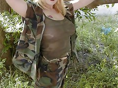 Sexy busty blonde Anna D. Caans salutes the military