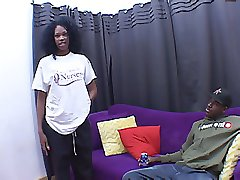 Frizzed out ebony teen gets sexed up for a hard black dick banging