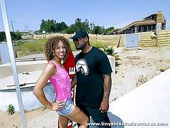 Ebony vixen gets her tits creamed by a big black dong