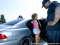 Ebony vixen gets her tits creamed by a big black dong