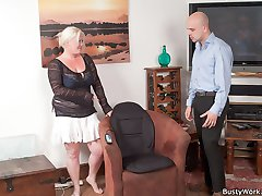Sweet-looking blonde plumper gets a house call from sex tech guy and fucks him raw