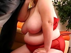 Cum loving bbw Charlly enjoys plump pussy poking from a huge black wang and takes huge cum facial