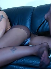 Vivacious chick stretches her black hose while demonstrating her yummy feet