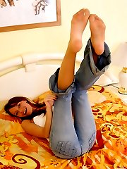 Heated girlie in barely visible pantyhose getting down to wild foot action