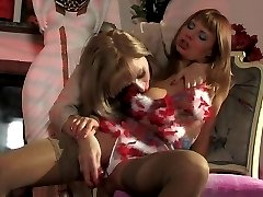 Lewd girl in fancy lingerie spying at dildo toying milf before wet tonguing