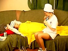 Stockinged nurse seducing her mature patient into pussy eating and rimming