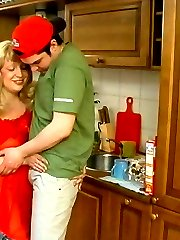 Freaky guy ready to fuck the shit out of plump mature chick in the kitchen