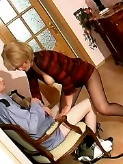 Salacious mature chick treating policeman like her sex toy for oral games