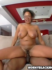 wet black MILF has her pussy stuffed with younger cock meat