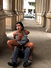 Hot Czech babe Carmen Blue gets stripped naked and tied up right in front of a soccer field...