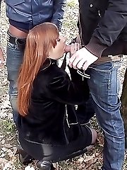 Outdoor deep throat with a hot redhead