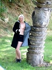 Hot british lad posing nude in a public park