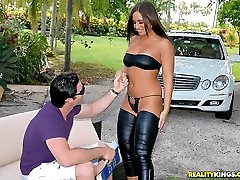 Hot big round ass lexxxy gets shows her hot black string bikini in the park then sucks a big...