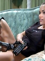 Filthy domina keeps her male-sub on a leash and strapon plugs his rear-end