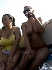Several beauties caught on outdoor spy cam