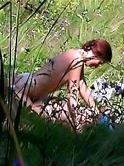 Horny lovers filmed by spy camera outdoors