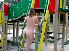 My sexy redhead exgirlgriend poses nude for my camera in several public places showing her tiny...