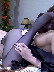 Kinky lesbian babes go for sensual foot worshipping and hot nylon foot sex