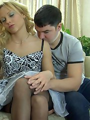 Busty chick in suntan nylons gets to wild fucking with a guy after a drink