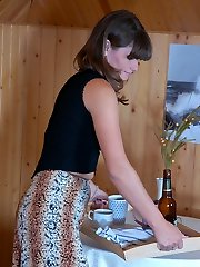 Dressed up waitress finds a run and puts on new sheer-to-waist pantyhose