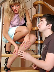 Hot guy licks every toe of babes nyloned feet before going for hard doggie