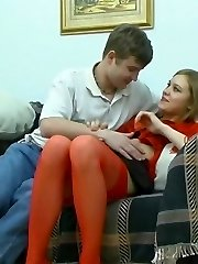Naughty blonde in red stockings making her neighbor want to score with her