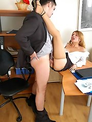 Horny secretary in soft silky hose rubbing her clit in wild fucking action
