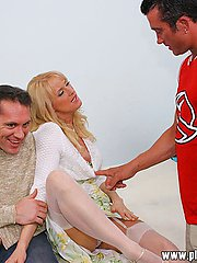 Blonde wife in lingerie bounces up and down a strange dick