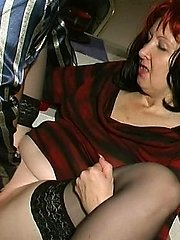 Lewd mature gal and her younger lover having sucking and fucking amusement