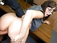 Naughty milf gets spread out and fucked on top of her desk!