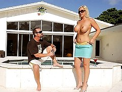 Chec out this hot blonde milf tiffany get dp by the pool in this hot cock sucking pussy fucking...