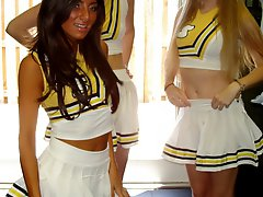 Check out these hot ass mini skirt high school cheeleaders msterbate and fuck eachother in these...